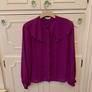 Vintage Purple Button Down Blouse